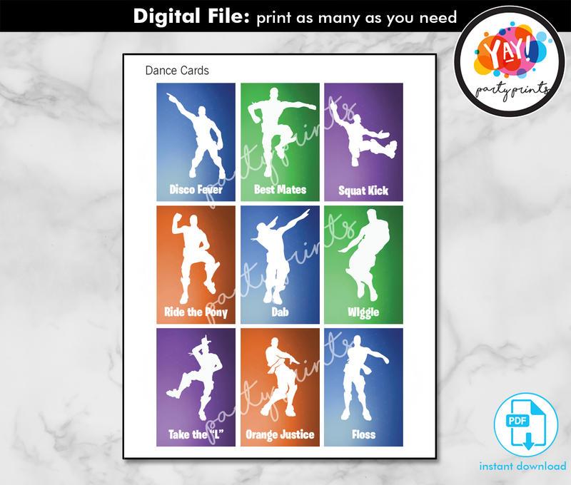 Dance Emote Cards Printable PDF instant download digital for Party Game, fortnite birthday design
