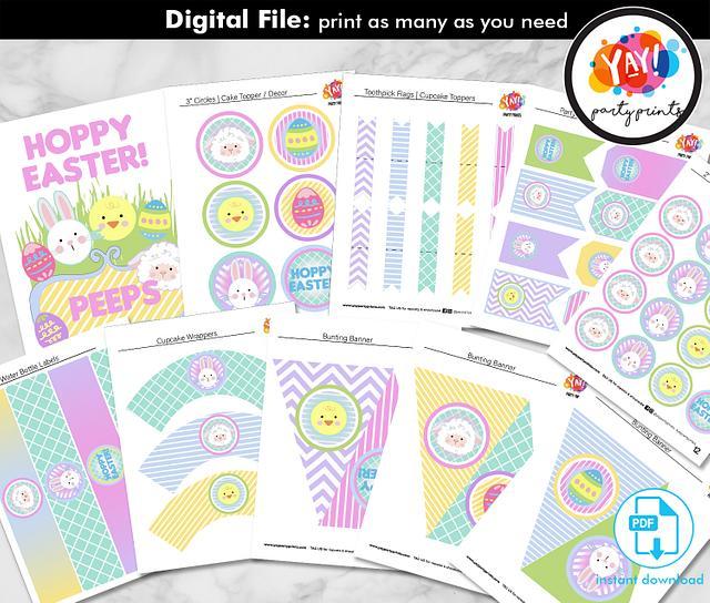Hoppy Easter Full Party Printable - instant download PDF digital file