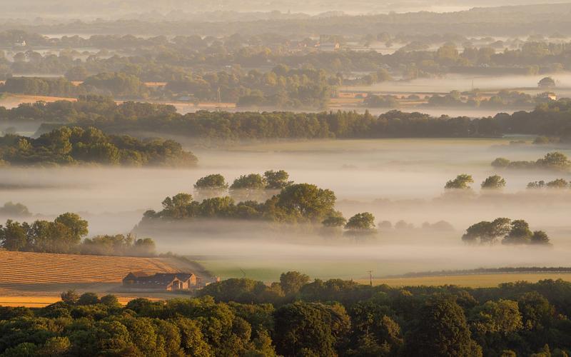 Mist shrouded farm