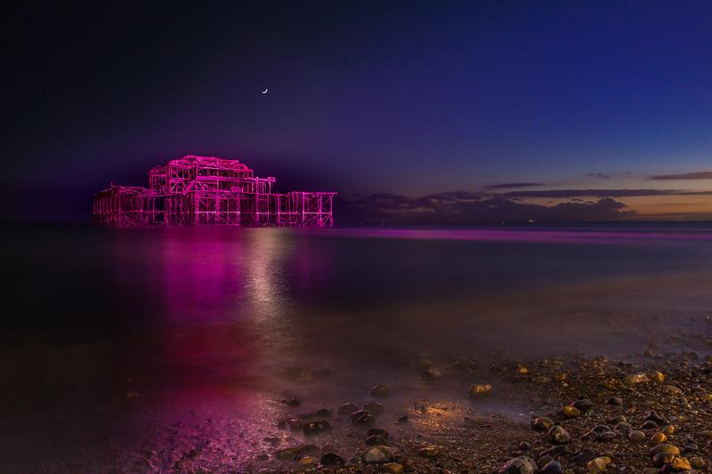 Pink West Pier at night