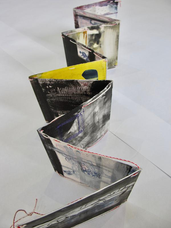 Twine 1 - Threaded Artist Book 149x14cm unfolded 16x14cm folded