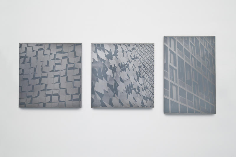 Installation view: Charles St. I, Charles St. II, Spatial Construct I (Park Hill)