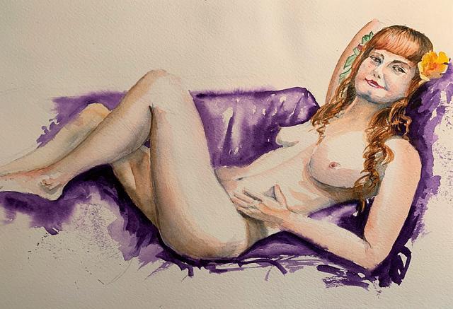 Woman on Purple