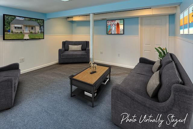 Virtual staging pictures in Fords NJ. Basement virtually staged in a Fords NJ vacant home.