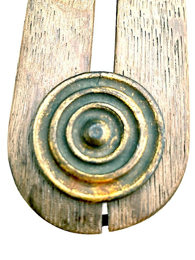 Quarter Oak Button Stick Repaired with Late-Georgian Metal