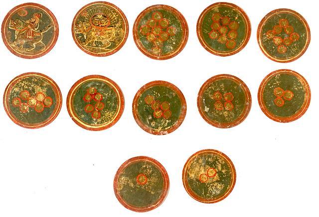 19th Century Rajasthan Mughal Ganjifa - 92 cards in original box