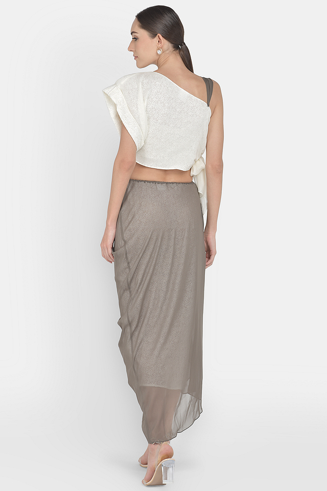 Lace & Georgette  Crop Top & Skirt With Pearl Embellishment