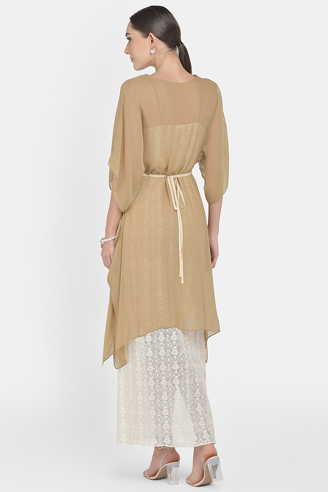 White Tunic Top With In-Cut Dress & Belt
