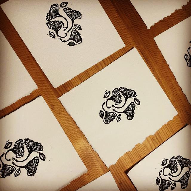 Gingko Leaves Linoleum Print