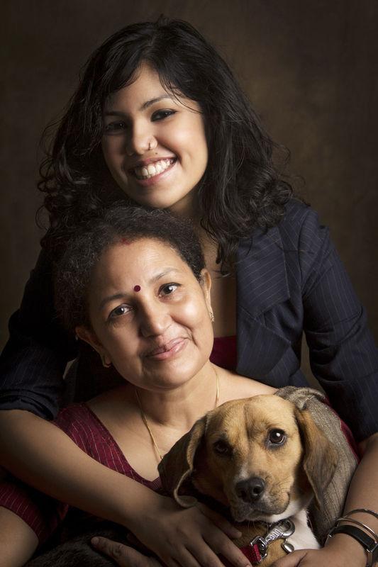 Joyita and her Mom, Pushpita Banerjee. And her 2nd daughter, Poshto.