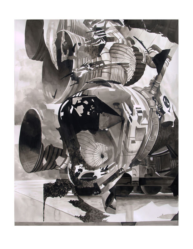 """""""Boosters"""" India ink on paper, 30""""x 40"""" 2013"""