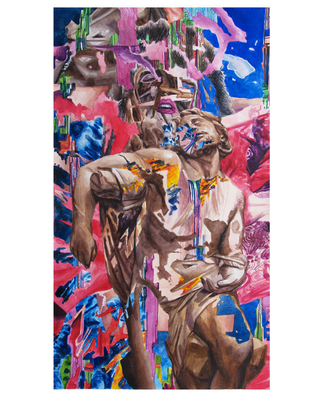 """Saint Sebastian"" watercolor on paper, 22""x 30"" 2014"