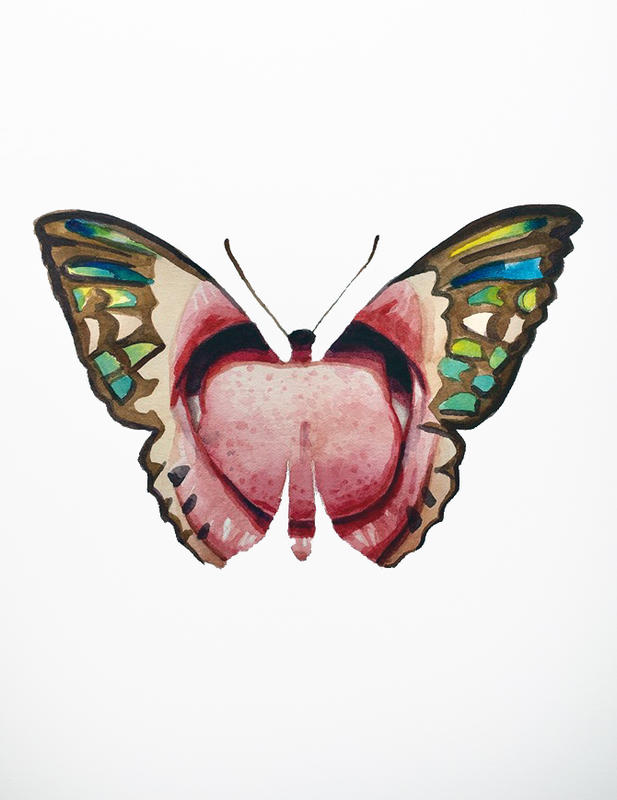 """Part of """"Butterfly Kisses"""" Series, watercolor on paper, 14""""x 11"""" 2018"""