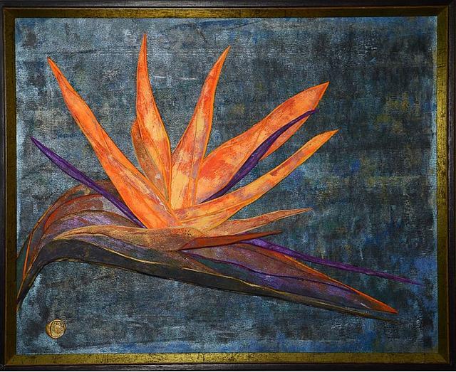 Bird of paradise .  17.5X21.5. Framed