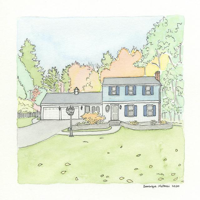 "Custom Watercolor House Portrait, 5""x5"""