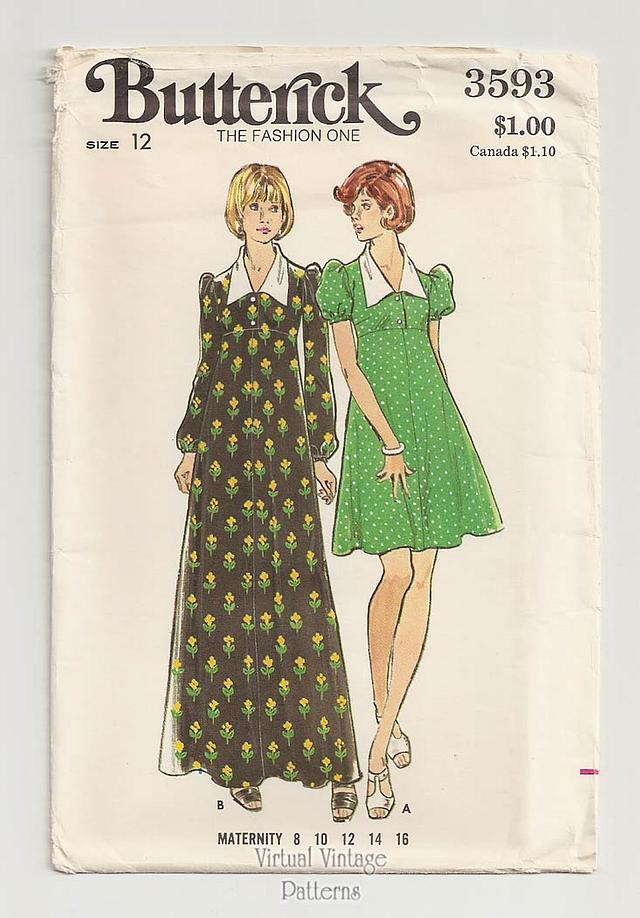 Babydoll Maternity Dress Pattern, Butterick 3593, Maternity Maxi Dress, Bust 34, Uncut