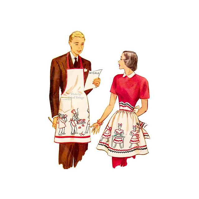 1940s Apron Pattern, McCall 1481, His and Hers Cooking Aprons, Uncut