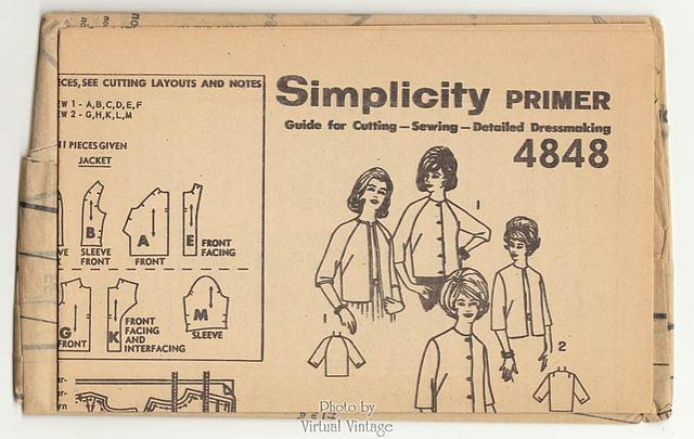 Simplicity 4848, Womens Lined Jacket Pattern, Easy Sewing, Bust 34 Uncut