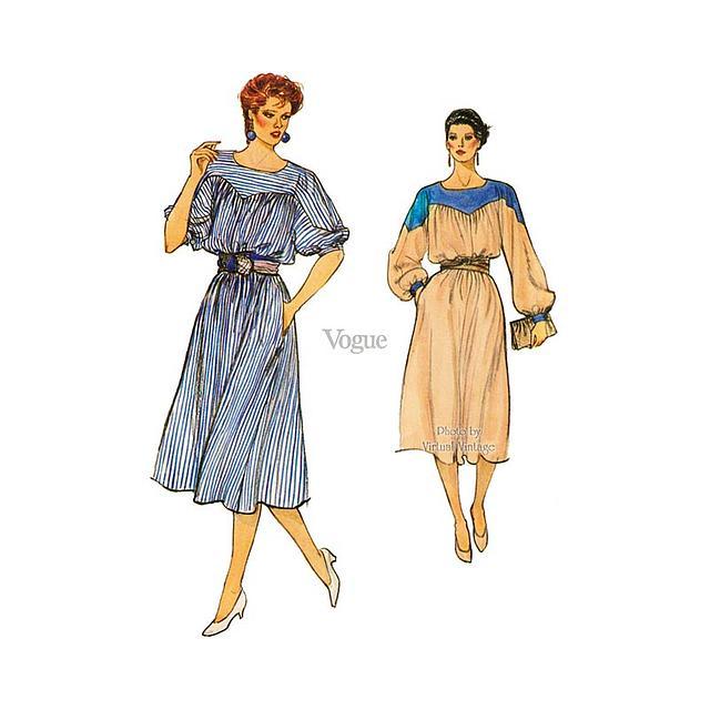 Vogue 8596 Blouson Dress Pattern, Pullover A Line Dress with Pockets, Uncut