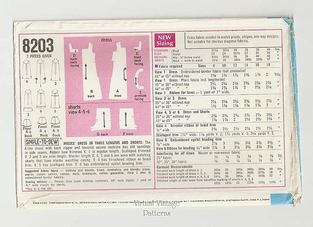 60s Micro Mini Dress Pattern, Simplicity 8203, A Line Dress & Shorts, Bust 38, Uncut