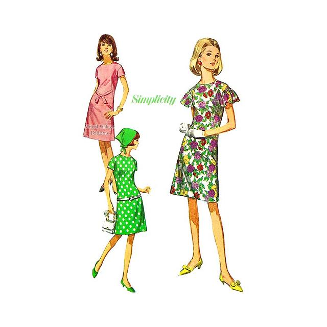 Simplicity 6910 Jiffy Dress Pattern, Collarless A-line Dress with Flutter Sleeves, Uncut