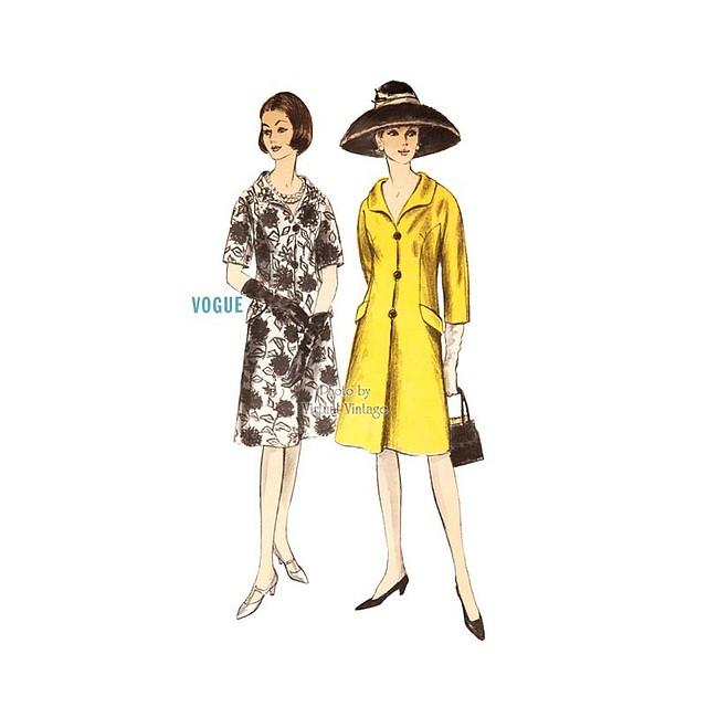 60s Coat Dress Pattern, Vogue 6289, Vintage Sewing Pattern, Bust 33 Uncut