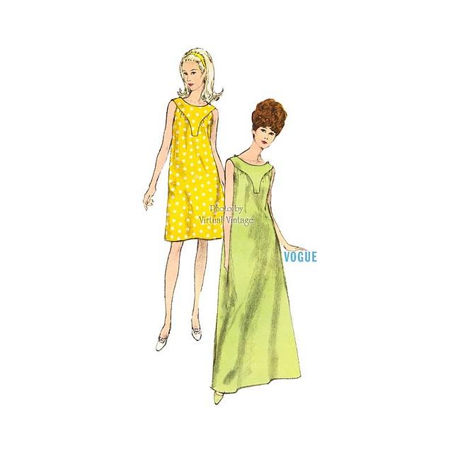 1960s Sleeveless Nightgown Pattern Vogue 6928, Easy Sewing MuuMuu, Uncut