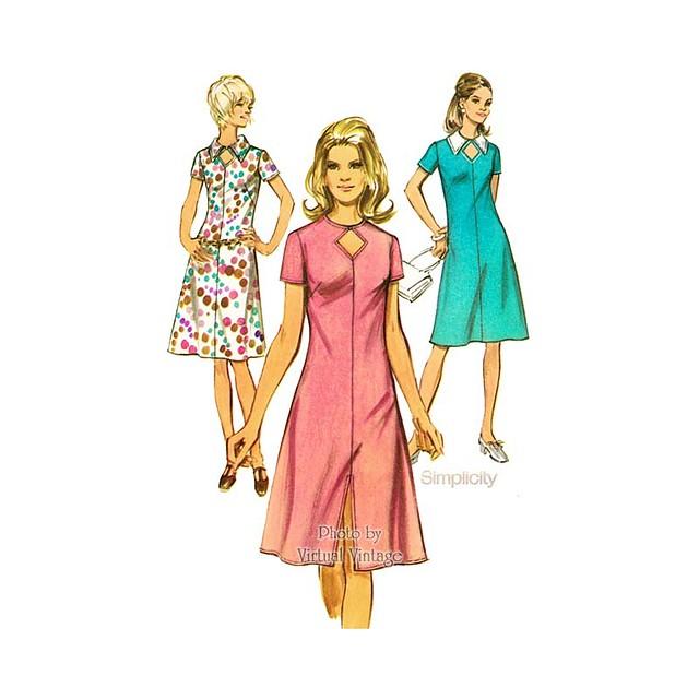 70s Keyhole Dress Pattern, Simplicity 9310, Bust 38, Uncut
