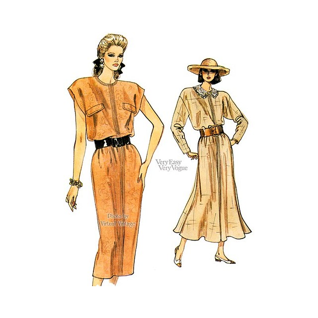 Straight or Flared Blouson Dress, Pattern Very Easy Vogue 9831, Uncut