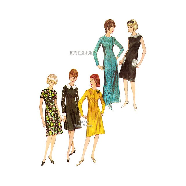 Easy A Line Dress Pattern Butterick 3736, Day Dress or Evening Gown, Bust 34, Uncut