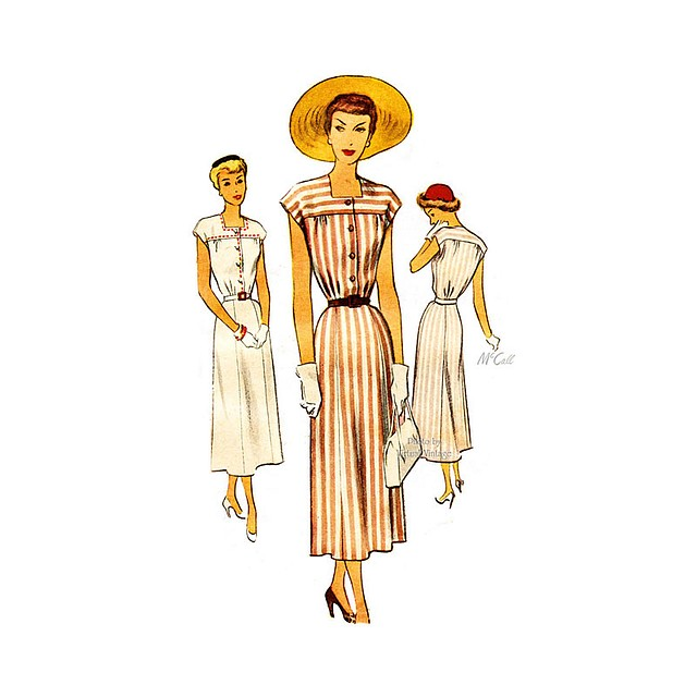 McCall 7624, 1940s Day Dress Pattern, Bust 34 Vintage Sewing Patterns