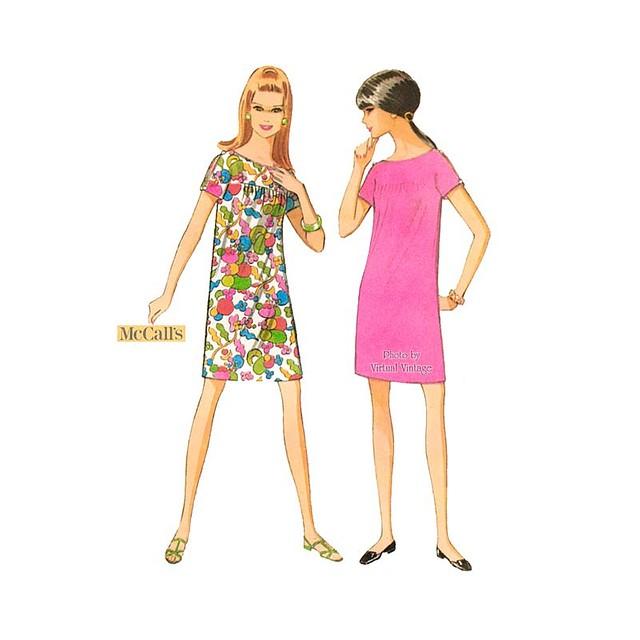 60s Shift Dress Pattern McCalls 9217, Vintage Sewing Pattern Bust 34 36 Uncut