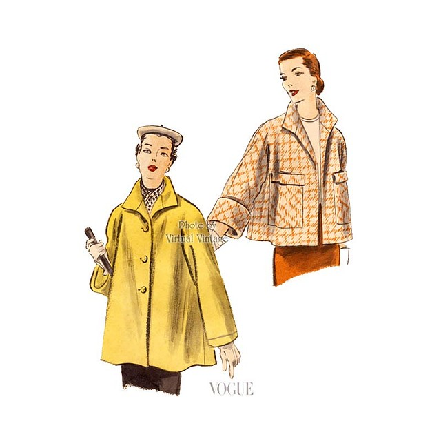 1950s Coat Pattern Vogue 7437, Vintage Easy Sewing Coat with Kimono Sleeves & Patch Pockets