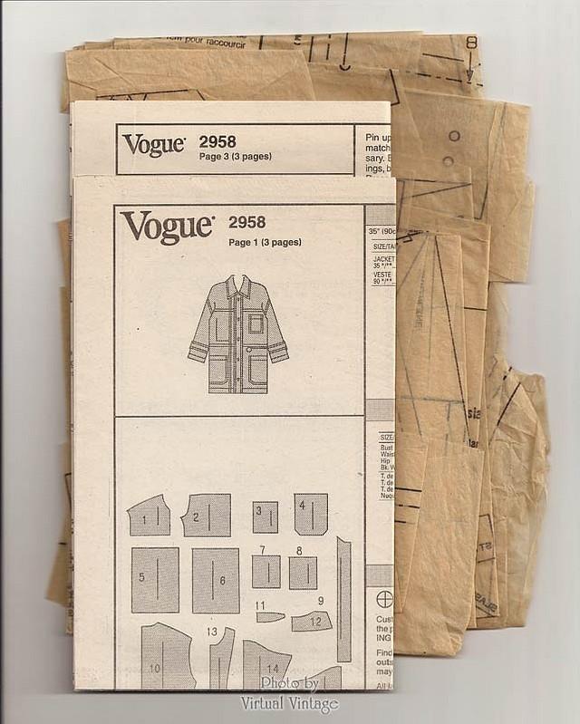 Womens Oversized Denim Jacket Pattern, Vogue 2958, DKNY Jacket Sewing Pattern, Sizes 6, 8, 10