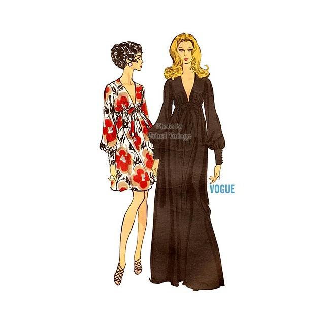 Vogue 7630 Empire Waist Maxi Dress Pattern Bust 38 Modeled by Jean Shrimpton