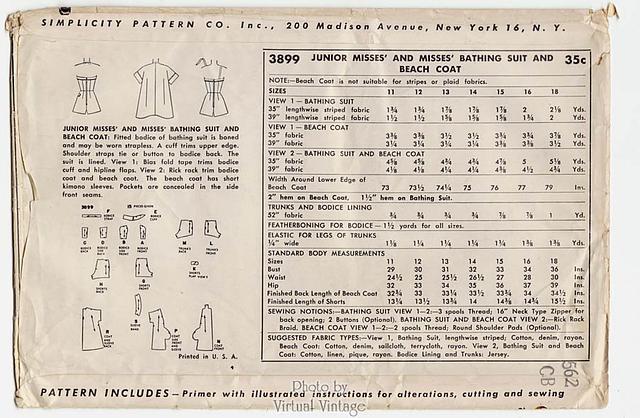 1950s Strapless Bathing Suit Pattern, Simplicity 3899, Vintage Sewing Patterns, Uncut