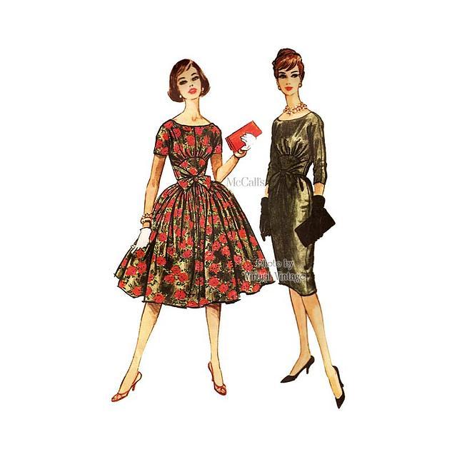 1950s Full Skirt Dress Pattern, McCalls 5142, or Sheath Dress Vintage Sewing Pattern