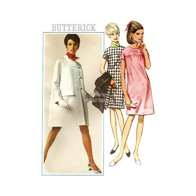 1960s Mod Swing Coat and Shift Dress Pattern, Butterick 4623, Uncut