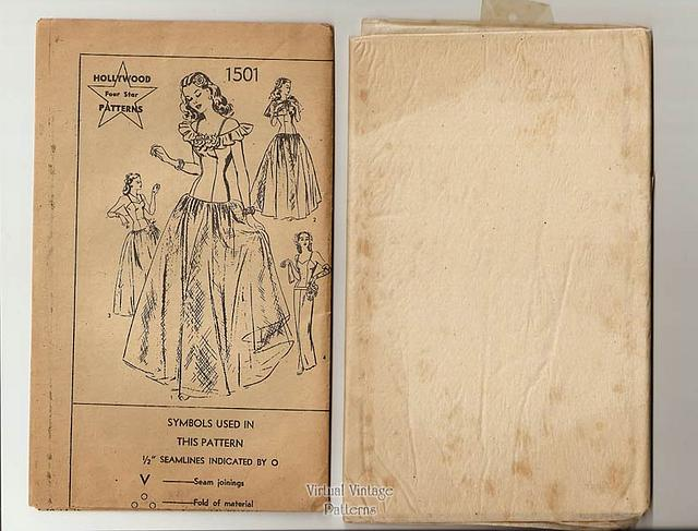 1940s Ball Gown or Evening Dress Pattern, Hollywood 1501, Vintage Sewing Patterns