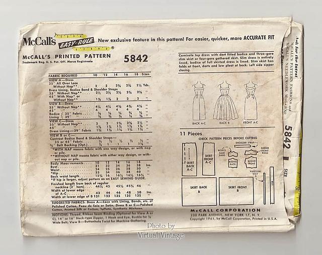1960s Rockabilly Dress Pattern, McCalls 5842, Vintage Sewing Pattern