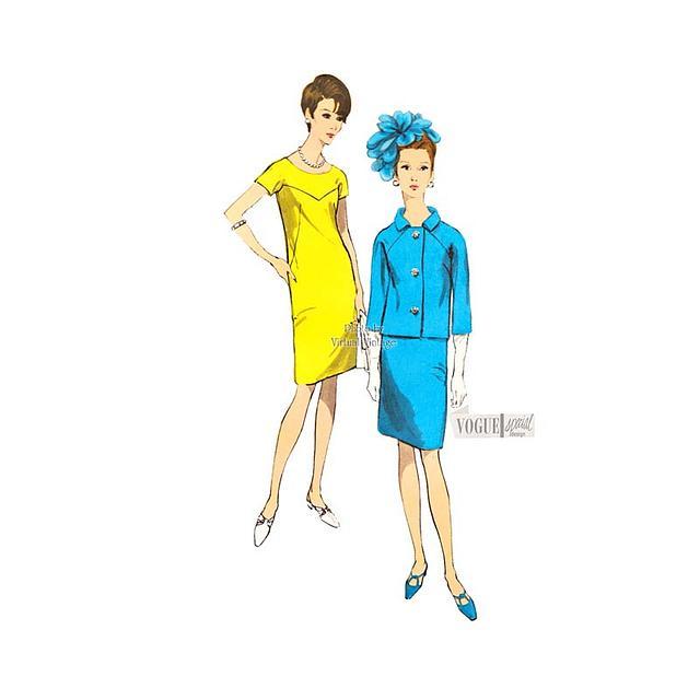 60s Jacket & Shift Dress Pattern, Vintage Vogue Special Design 7061, Bust 33, Uncut