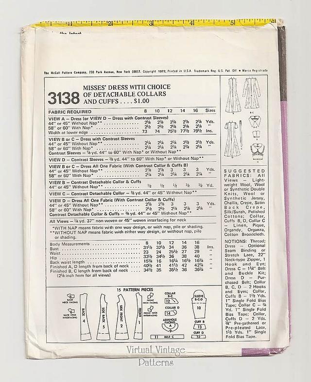 70s A Line Dress Pattern, McCalls 3138, Easy Sewing Mini Dress, Bust 34, Uncut
