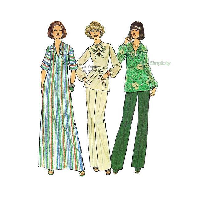 Womens Top & Pants or Caftan Patterns, Simplicity 7466, Vintage Sewing Pattern, Uncut