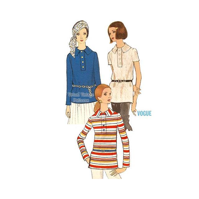 1960s Blouse Pattern, Vogue 7622, Short or Long Sleeve Overblouse, Bust 34, Uncut