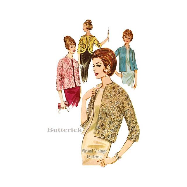 60s Evening Jacket Sewing Pattern, Butterick 2884, Vintage Quilted Jacket, Bust 34
