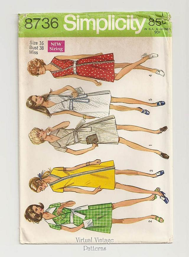 1970s Vintage Wrap Dress Pattern, Simplicity 8736, Bust 34 or 38, Uncut