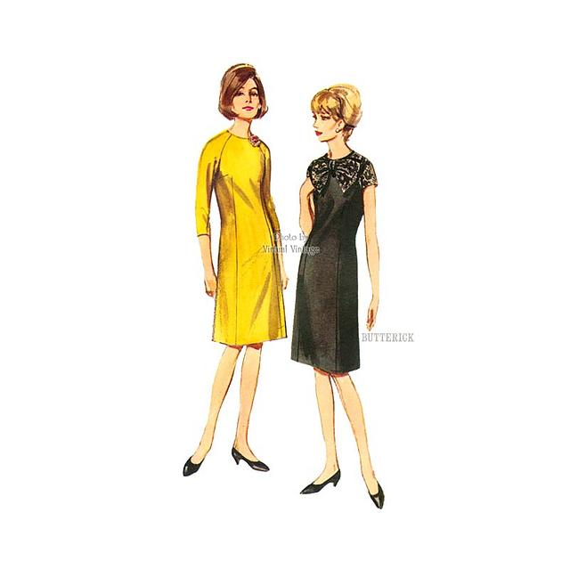 1960s A Line Bow Dress Pattern, Butterick 3786, Easy Sewing Patterns, Bust 34, Uncut