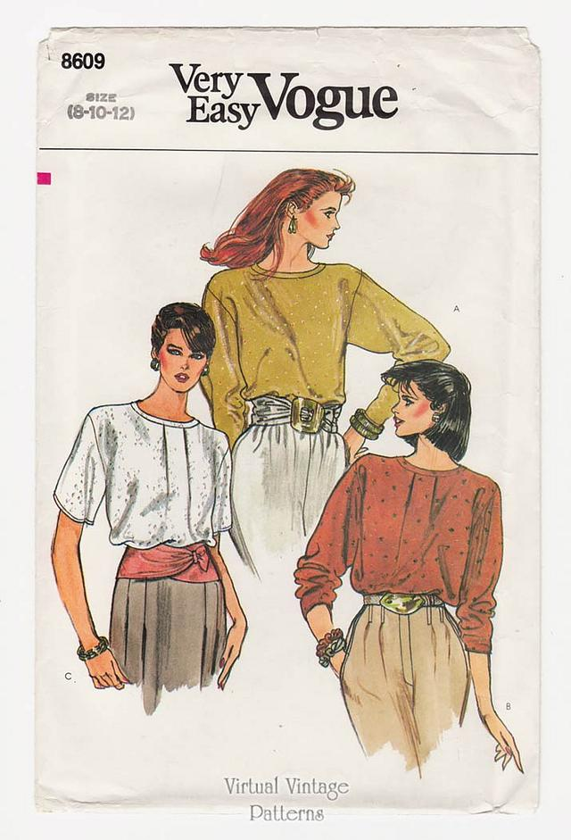 Easy Blouse Patterns Vogue 8609, Loose-fitting Pullover Tops Size 8 10 12, Uncut