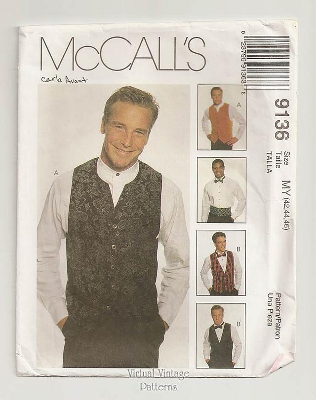 Mens Formal Vest Pattern with Bow Tie & Cummerbund, McCalls 9136, Sizes 42 44 46, Uncut