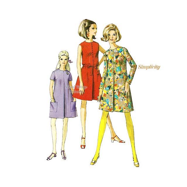 Mini Tent Dress Pattern, Simplicity 7428, Bust 36, Uncut